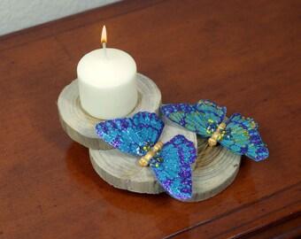 Wood & Butterflies Candle Holder