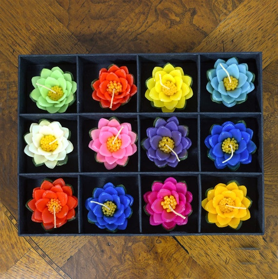 Beautiful Set of 12 Large, Floating Lotus Flower Candles. Makes a Gorgeous Gift and Comes in Quality Box.