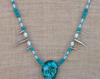 Ceramic Skull pendant/necklace.