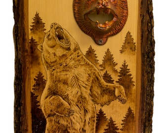 Forest Bear pyrography bottle opener