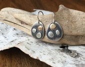 "Oxidized Sterling ""Stepping Stones"" Earrings with 14K gold accent"