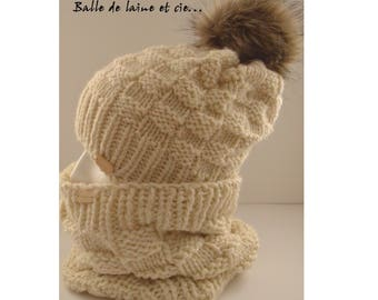 Knitted hat and collar set for women