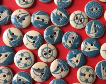nautical buttons wooden