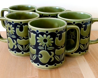Set of 5 Retro 60's Olive Green and Black teacups - coffee mugs