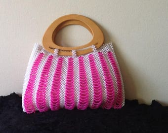 White and Pink Bead Bag