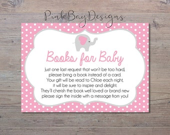 Pink Elephant Books For Baby, Books For Baby Insert, Pink Elephant Shower, Baby Shower Insert, Baby Shower Printable, Elephant Baby Shower
