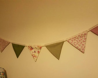 Shabby Chic bunting pinks and greens