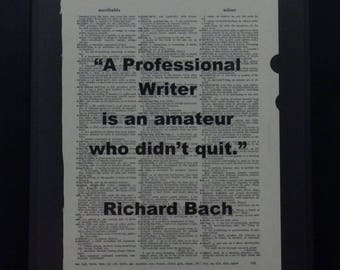 Professional Writer,Inspiration, Writing, Upcycled, Dictionary Art, Vintage, Gift, Richard Bach, Vintage, Book Page