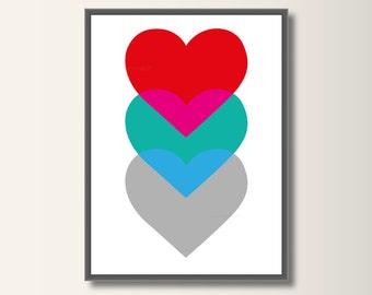 Heart, heart, art print, art print poster, nursery art, minimalist set pressure, minimal print