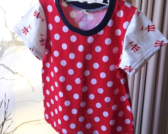 Girls size 5 red spot tshirt with carnival tent sleeves