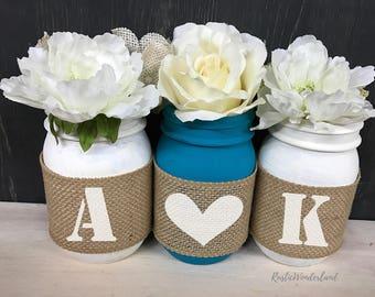 Home Accent // Mason Jars // Wedding Centerpieces // Mason Jar Decor // Mason Jar Centerpieces // Burlap Mason Jars // Wedding Decor