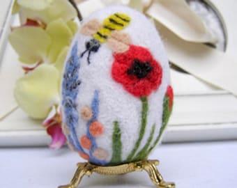 Easter Egg Needle felted Egg Spring Ornament Eggs Eggs Ornaments With Flower Needle Felted Easter Egg With Flowers Miniature Original Art