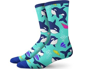 Buy1 Get 1 FREE! Whale Socks, Animal Socks, Hawaiian Socks, Christmas Gift, Christmas Clothing, Holiday Socks, Animal Clothing, Retro 90s