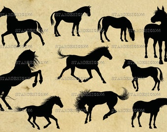 Digital SVG PNG JPG Horses, silhouette, vector, clipart, instant download
