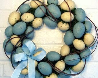Blue & Cream Egg Wreath