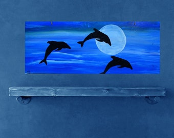 Dolphin art on wood, 8x20 re purposed wood art, mammels, silhouette dolphins jumping out of moonlit sea