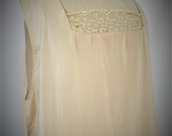 1920s - 1930s Silk Under Garment / Slip / Lingerie / Lace Slip / Silk Slip Size L/ XL