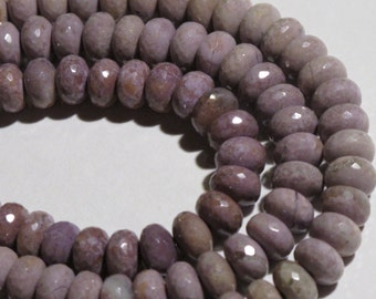 SALE Medium Facetted Purple Jade Beads - Natural Stone Beads - Facetted Rondelle Strand - Lavender - Item 213