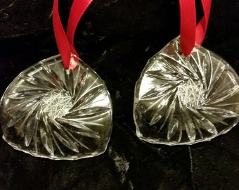 Set of 2  Vintage crystal ornaments