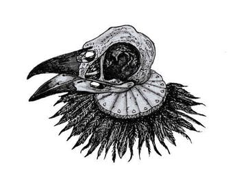 PRINT ONLY A4 Crow skull goth vintage feather collar illustration
