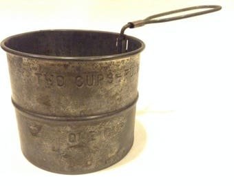 Vintage Mid-20th Century Tin Flour Sifter and Shaker Kitchen Helper Made in USA