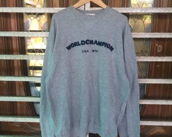 Vintage World Champion USA 1974 Hoodies Sweatshirt Large Size
