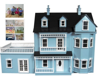 NEW Blue dolls house +6 furniture set +dolls family