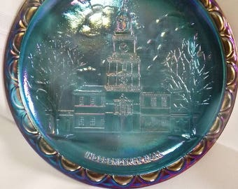 "Vintage Indiana Glass Company Blue Carnival Glass Independence Hall Collectible 8"" Plate"