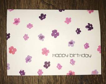 Birthday Card - Greeting Card - Floral Card - Pink Purple Birthday Card