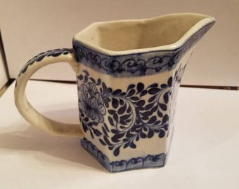 Hand painted blue and white creamer