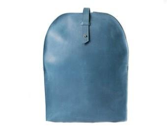 Everyday backpack, handmade rucksack, minimalist backpack, simple backpack, laptop backpack, leather rucksack, casual backpack, light blue