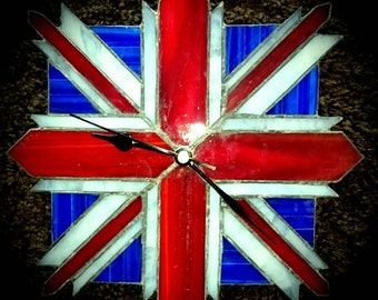 Union Jack Stained Glass Clock