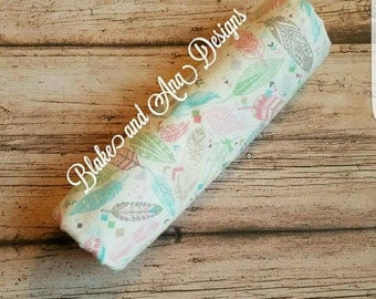 Personalized Feather swaddle/receiving blanket