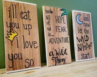 Where the wild things are wood signs