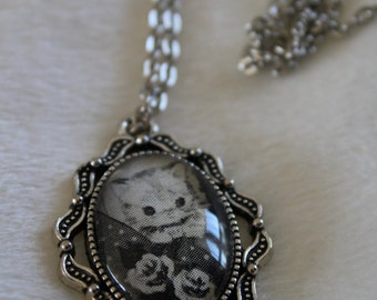 Kitten and Roses pendant necklace