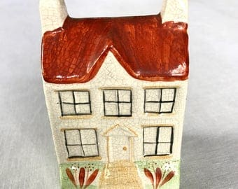 English Cottage Piggy Bank Miniature in Ceramic