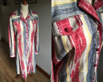 Red Striped Dress - Vintage 1970s - plus size - yellow, blue, green, white - Long sleeves - 'Lazarus of London'