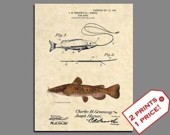 Fishing Wall Art - Catfish Fishing Patent - Flathead Catfish Fishing Poster - Patent Prints - Fishing Lure - Fishing Art - Vintage - 382