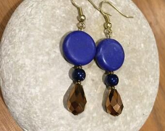 Bold blue & copper dangles
