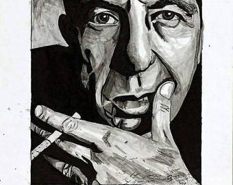 I Don't Remember - Ink Portrait Giclée print of Leonard Cohen