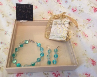Turquoise Glass and Crystals Set