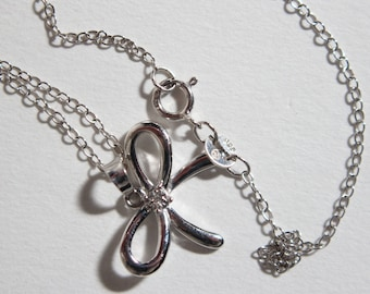 Vintage Diamond and Silver Bow Pendant Necklace 2124