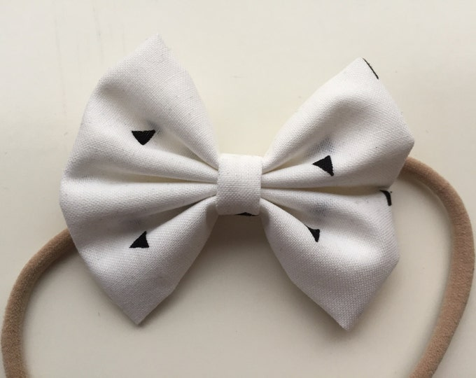 White with black triangles fabric hair bow or bow tie
