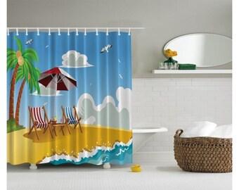 Beach shower curtain | Etsy