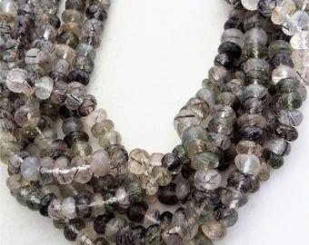 "Natural BLACK RUTILATED QUARTZ faceted beads ,rondelles beads , 6 mm -- 7 mm ,10""strand[E0461]black rutile beads"
