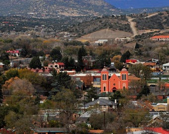Silver City New Mexico Catholic Church and Gomez Peak Churches Cities Landscape Mountains Southwest Photo