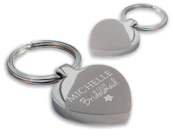 Personalised engraved BRIDESMAID wedding keyring gift, chunky heart shape wedding favour thank you keyring - HE-WED1
