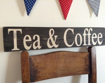 Vintage old style sign Tea & Coffee cafe hotel pub handmade