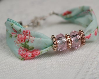 Vintage Blue Floral Fabric Bracelet with pale rose beads