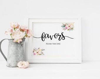 Wedding Favor Sign, Wedding Favor Printable, Favors Sign, Watercolor Flowers, Floral, Wedding Favors print, DIY. Instant Download, Printable